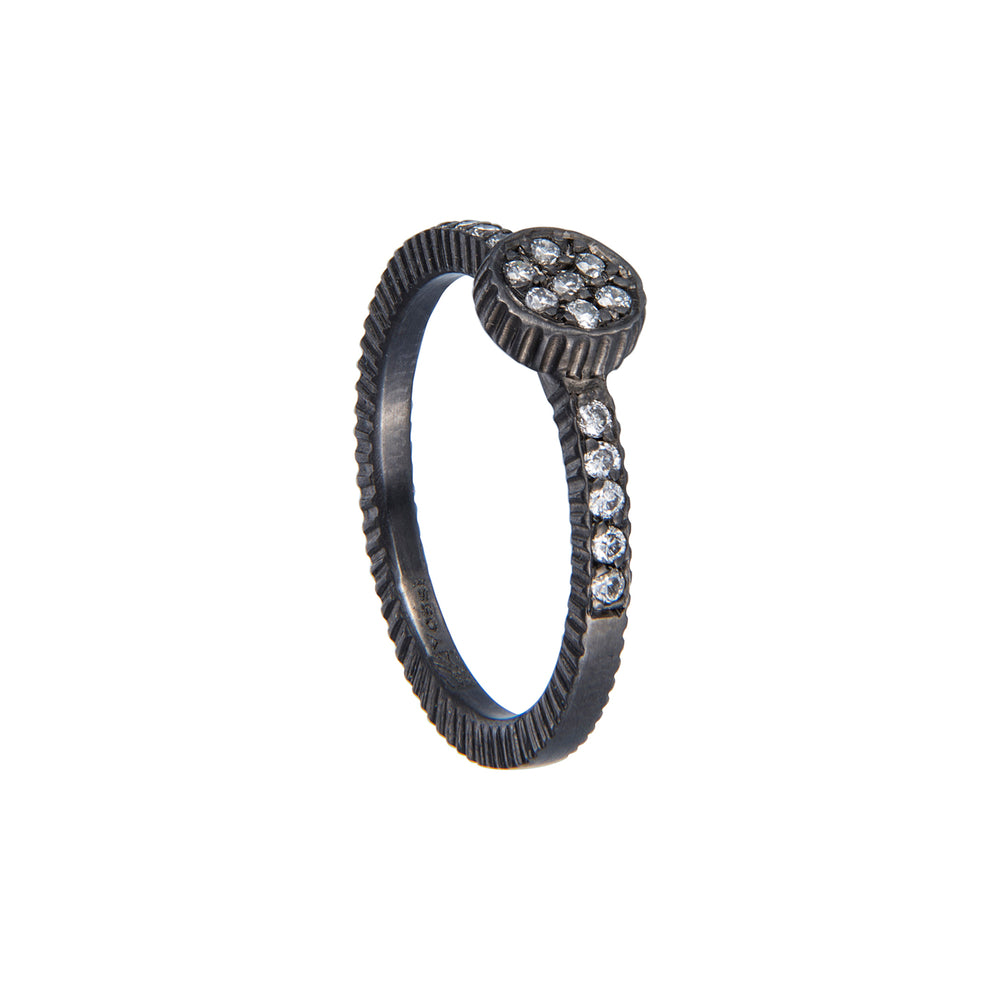 OXIDIZED GILVER & DIAMONDS LILAH STACK RING