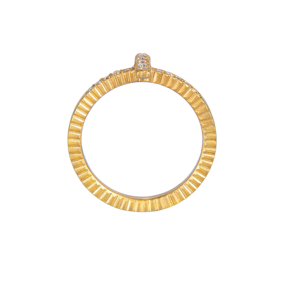 18 KARAT GOLD DIAMOND STICK LILAH STACK RING