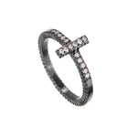 OXIDIZED GILVER DIAMOND STICK LILAH STACK RING