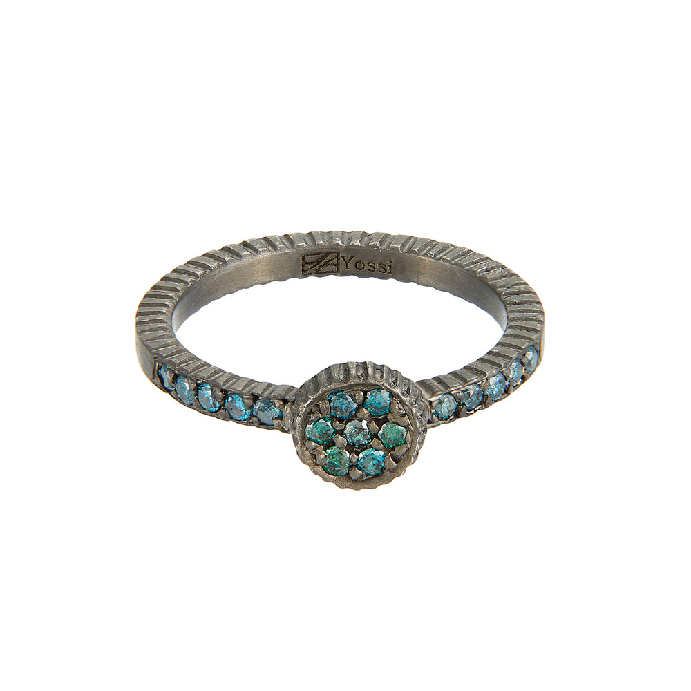 OXIDIZED GILVER TEAL BLUE DIAMOND LILAH STACK RING