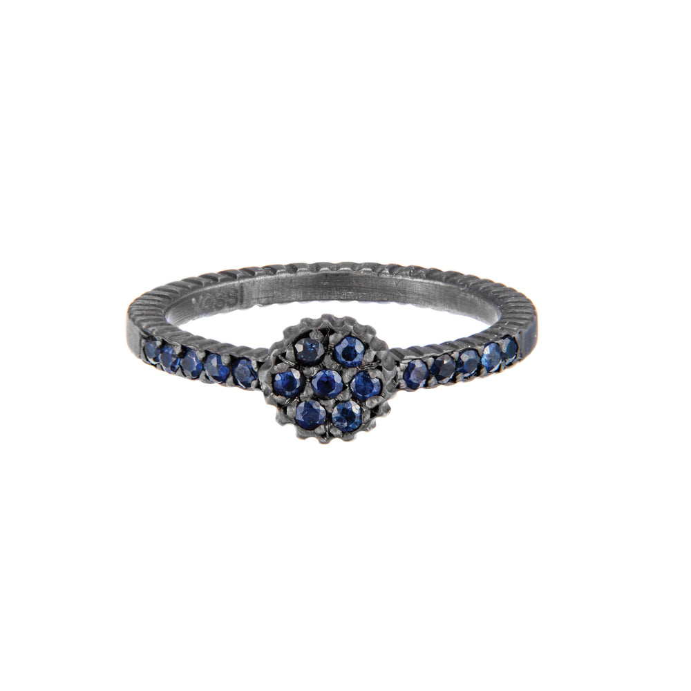 OXIDIZED GILVER BLUE SAPPHIRE LILAH STACK RING