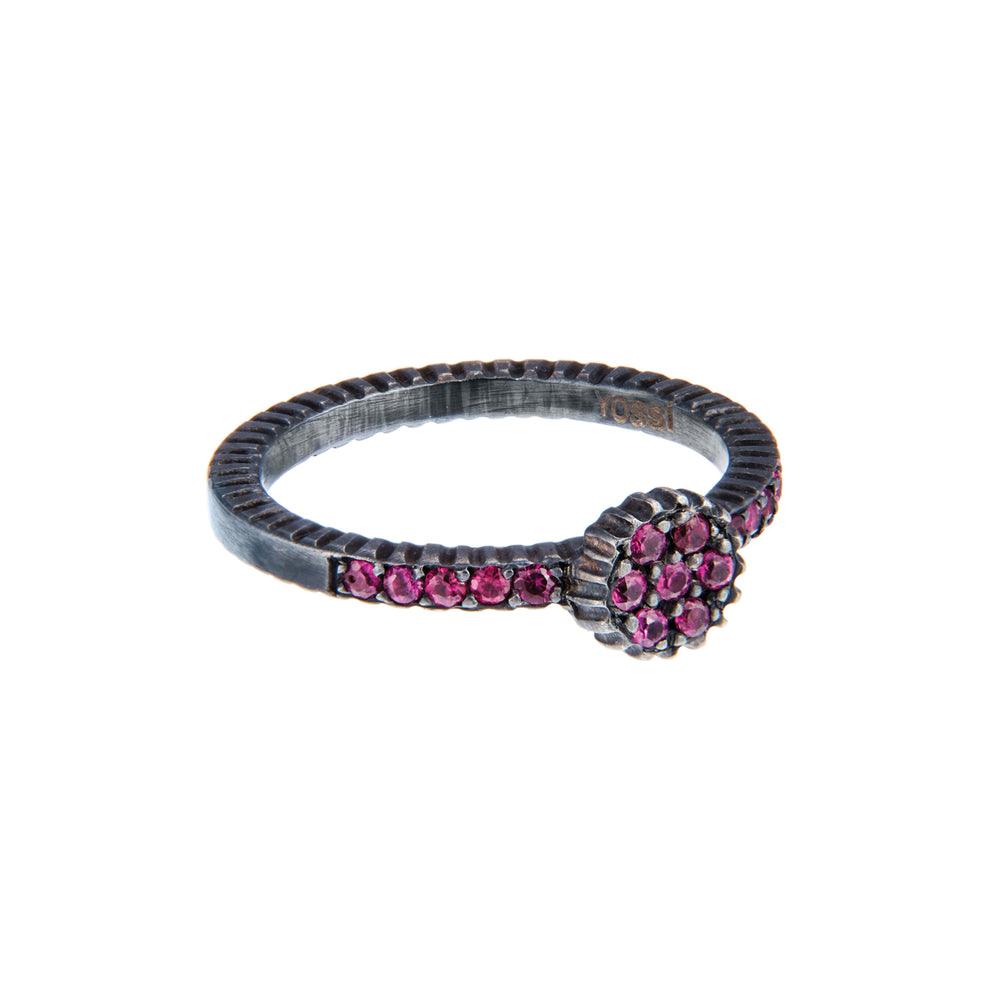 OXIDIZED GILVER RUBY LILAH STACK RING