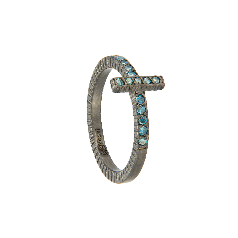 OXIDIZED GILVER TEAL BLUE DIAMOND STICK LILAH STACK RING