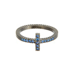 OXIDIZED GILVER BLUE SAPPHIRE STICK LILAH STACK RING