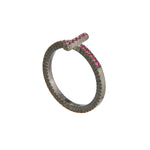 OXIDIZED GILVER RUBY STICK LILAH STACK RING