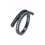 OXIDIZED GILVER BLUE & WHITE DIAMOND CRISSCROSS RING