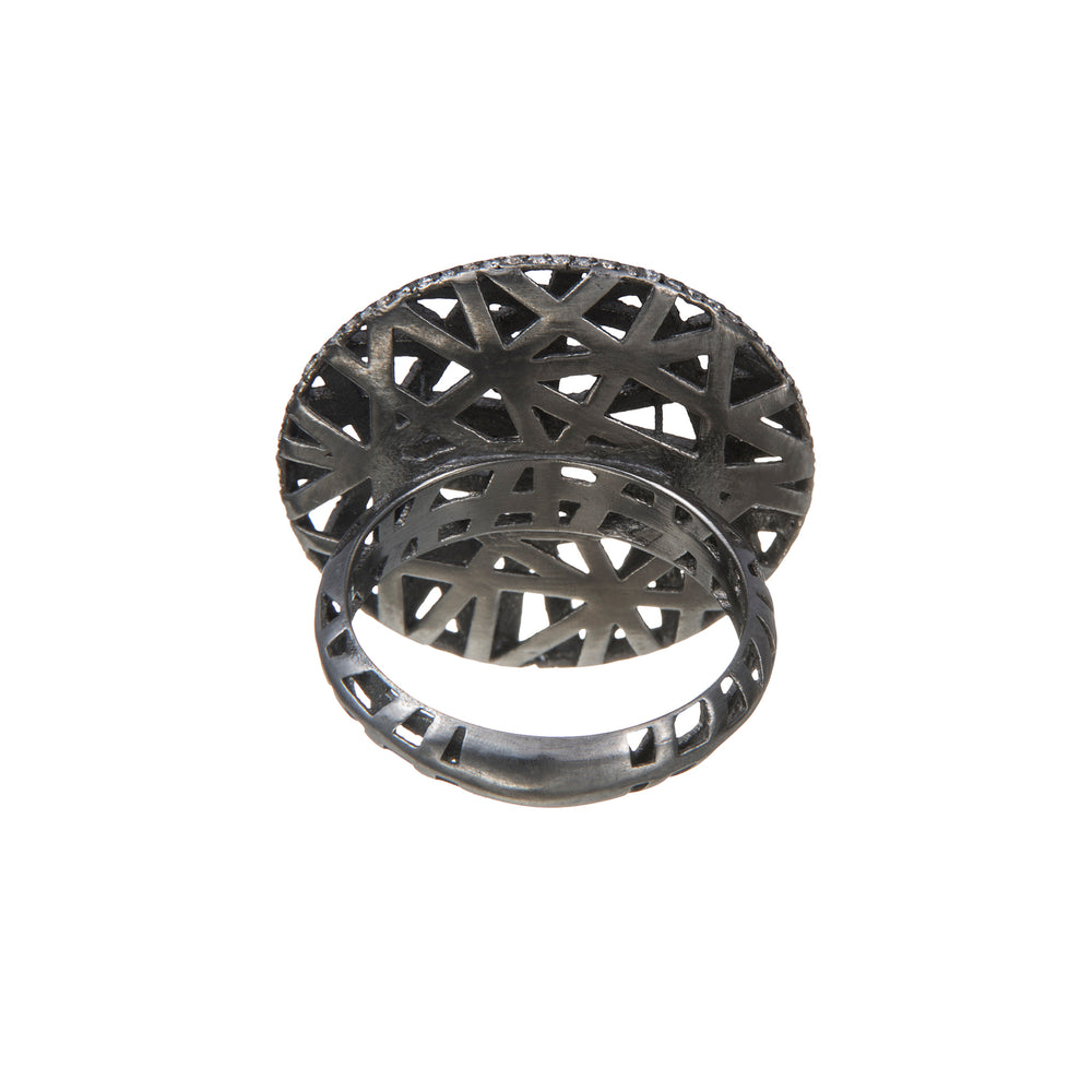 18K GOLD RHODIUM ROUND LACE RING