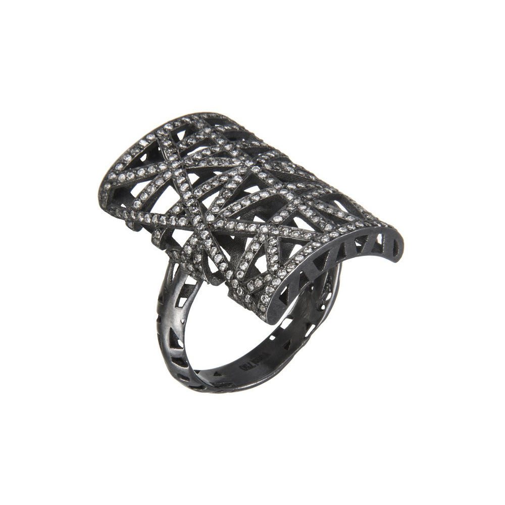18K GOLD BLACK RHODIUM LACE RECTANGULAR RING