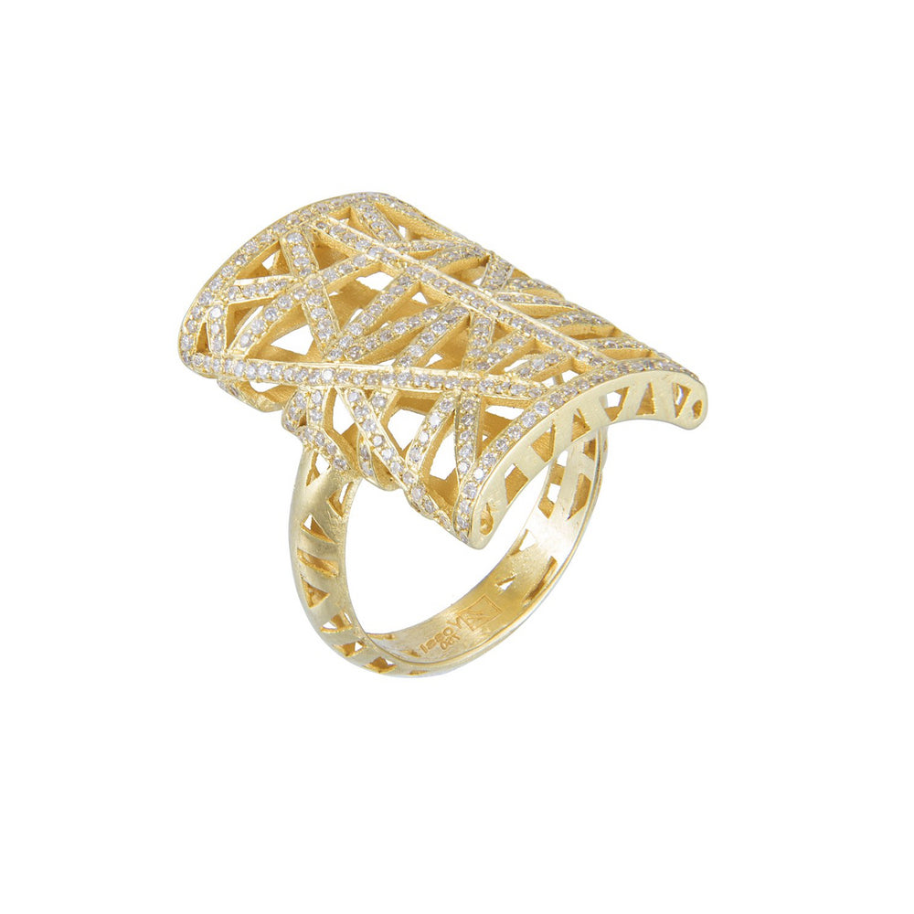 18K GOLD DIAMOND LACE RECTANGULAR RING