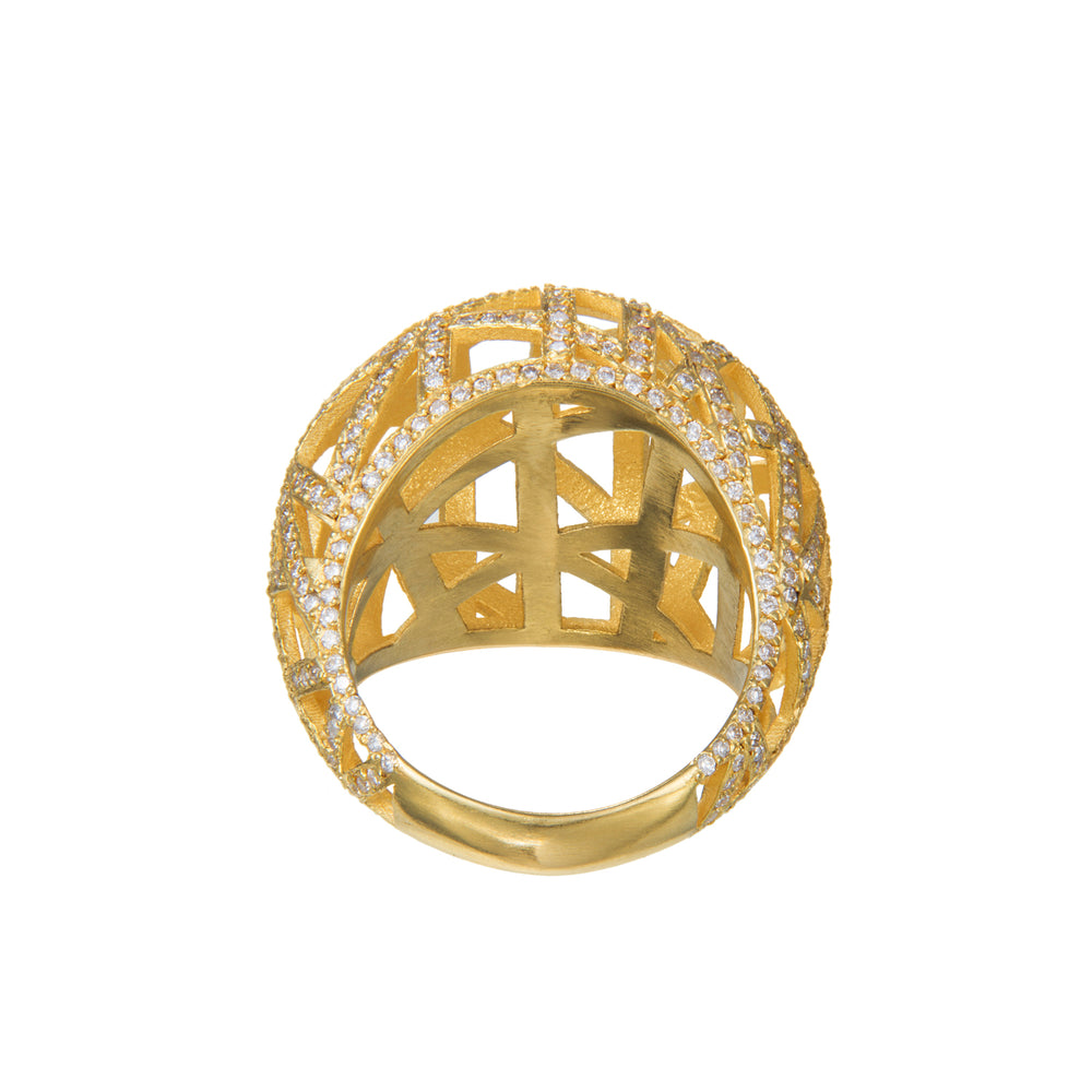 18K GOLD PAVÉ DIAMOND LACE RING
