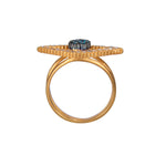 18K GOLD TEAL & WHITE DIAMOND EYE-SHAPE LILAH RING