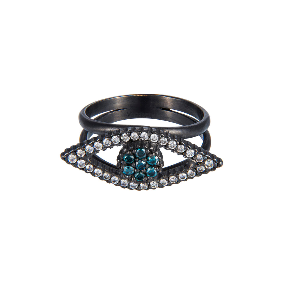 OXIDIZED GILVER TEAL & WHITE DIAMOND EYE-SHAPE LILAH RING
