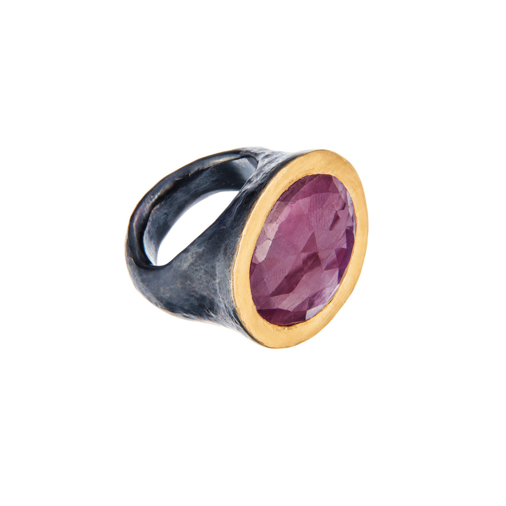 24K GOLD & STERLING SILVER PINK SAPPHIRE ROXANNE RING