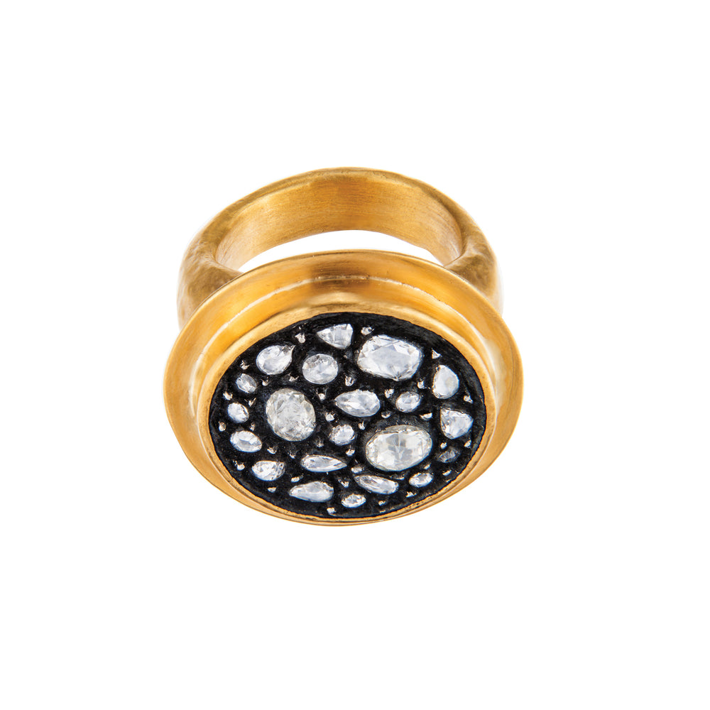 24K GOLD DIAMOND MOSAIC SARA RING