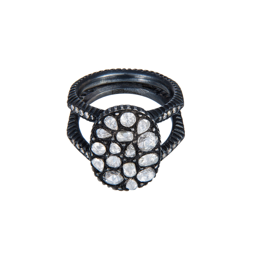 OXIDIZED GILVER DIAMOND MOSAIC SARA OVAL RING