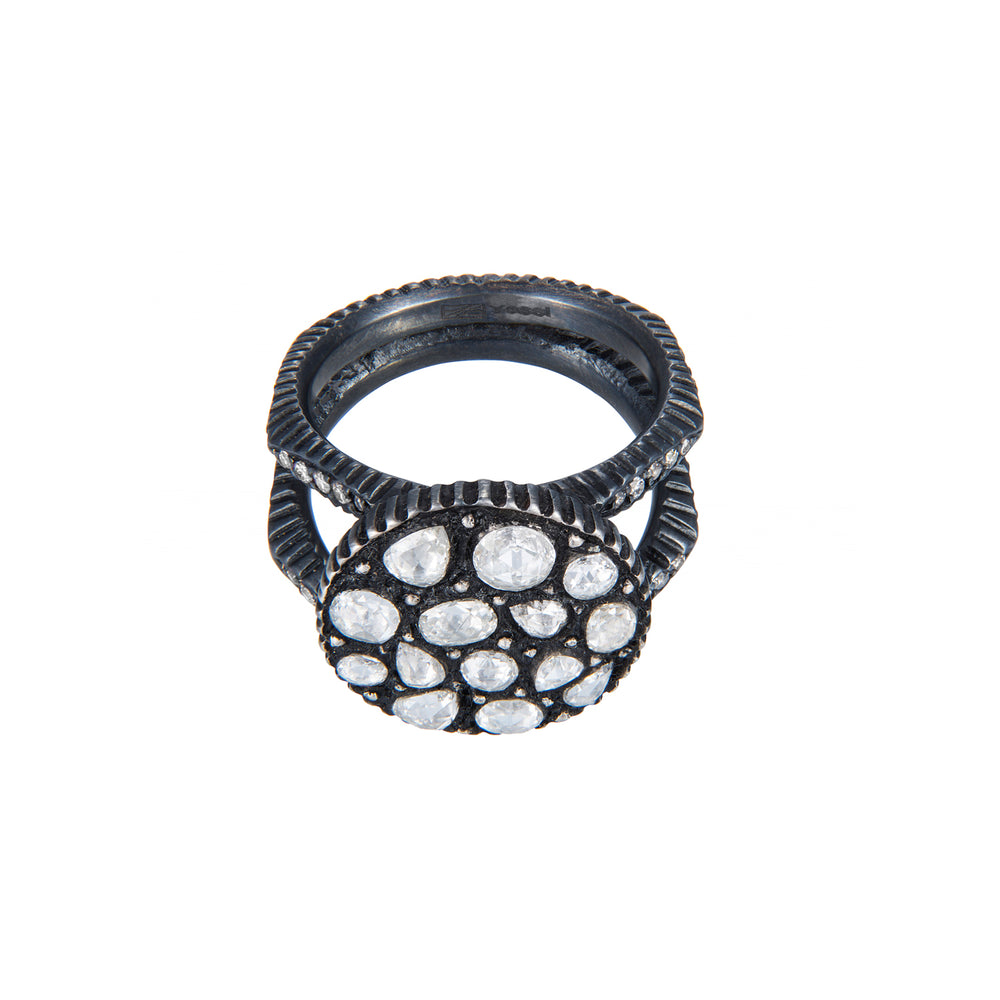 OXIDIZED GILVER DIAMOND MOSAIC SARA ROUND RING