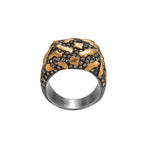 24K GOLD & OXIDIZED GILVER LIBRA PAVÉ DIAMOND RING