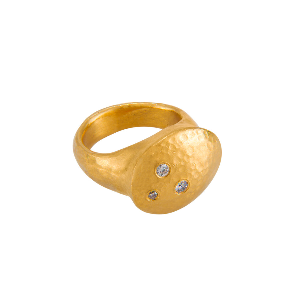 24K GOLD THREE DIAMOND RACHEL RING