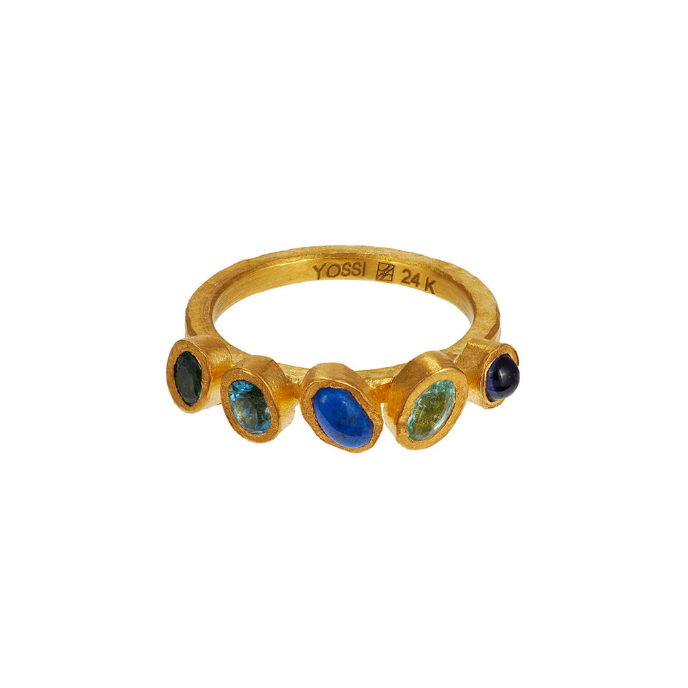 24K GOLD BLUE MIX GEMSTONE RING