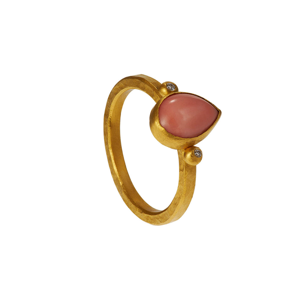 24K GOLD PINK CORAL AND DIAMOND REYNA RING
