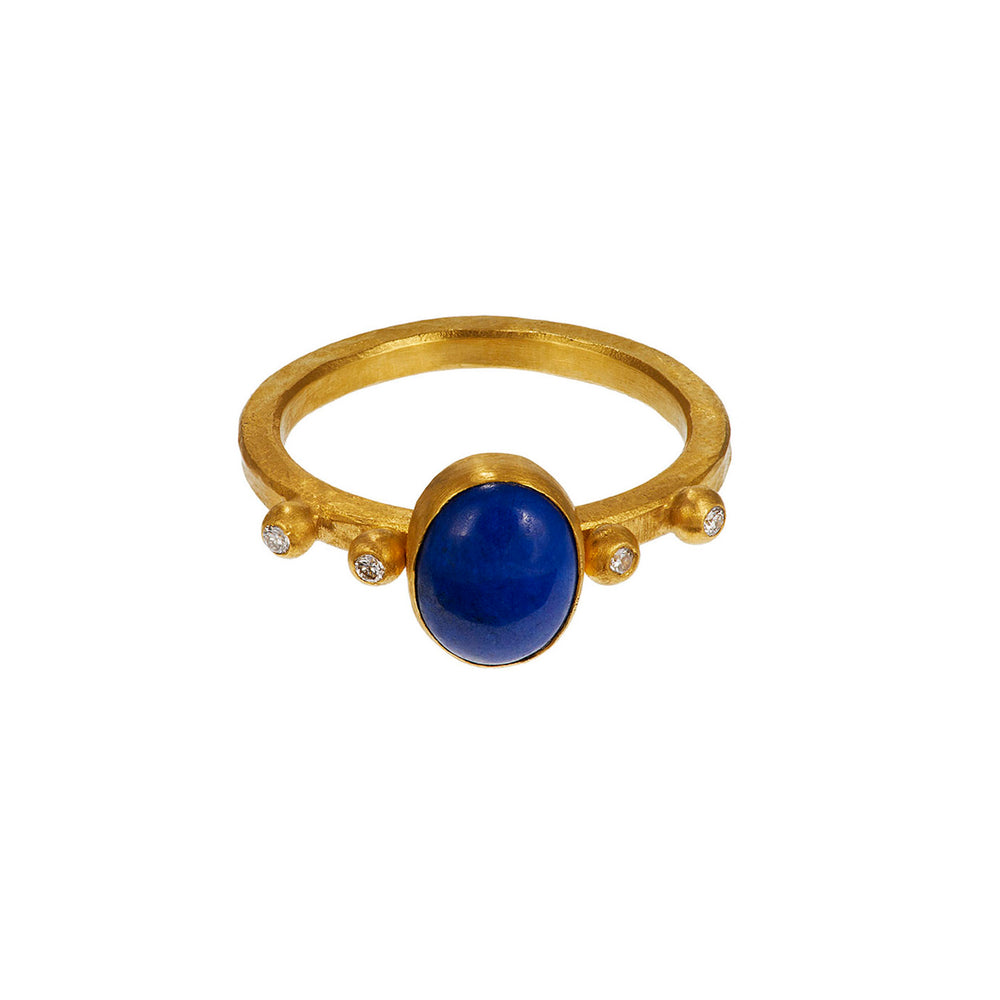 24K GOLD LAPIS AND DIAMOND REYNA RING