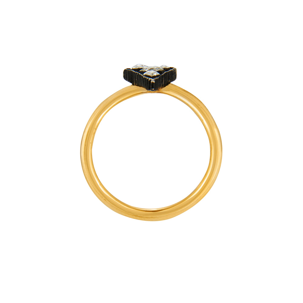24K GOLD & OXIDIZED GILVER TRIANGULAR MOSAIC SARA RING