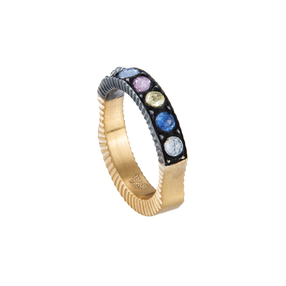 18K GOLD MULTI-COLORED CASCADE RING