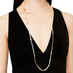 24K GOLD MIX ELEMENT PEARL WRAP NECKLACE