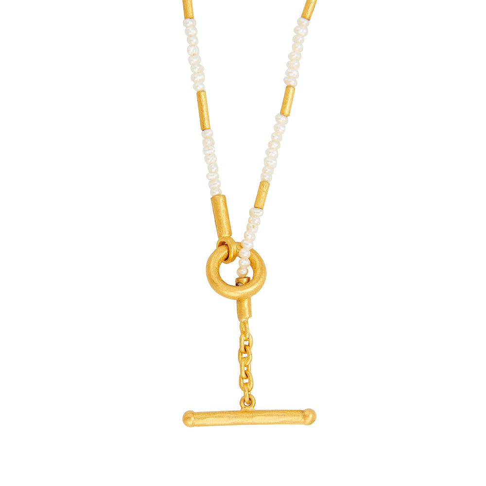 24K GOLD BAMBOO PEARL WRAP NECKLACE