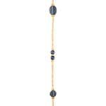 24K GOLD & OXIDIZED GILVER MULTI-ELEMENT BAMBOO JANE WRAP NECKLACE