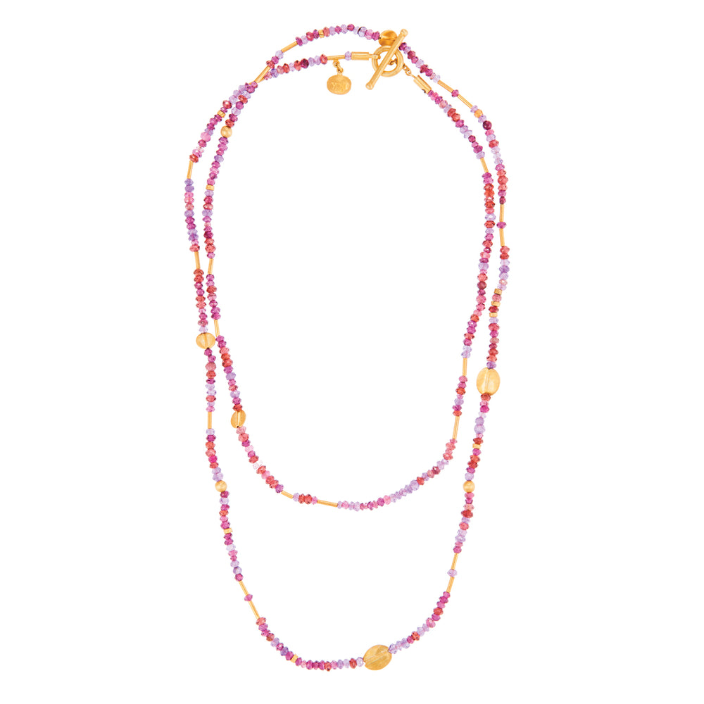 24K GOLD PINK TOURMALINE MIX JANE WRAP NECKLACE