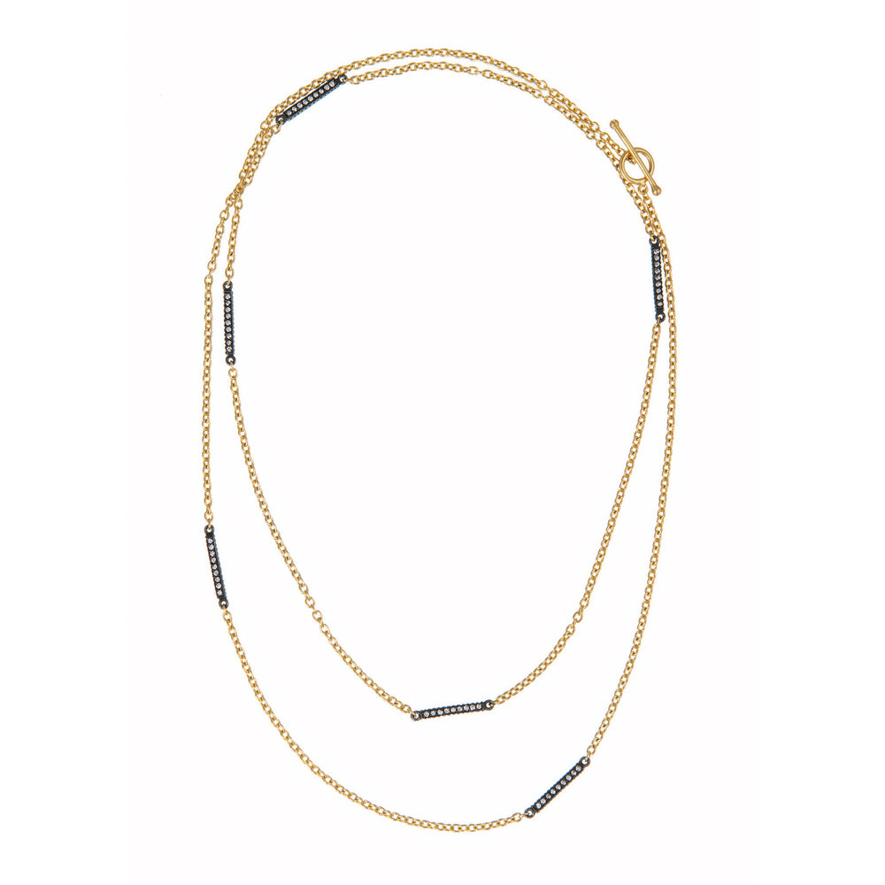 18K GOLD DIAMOND BARS LILAH WRAP NECKLACE