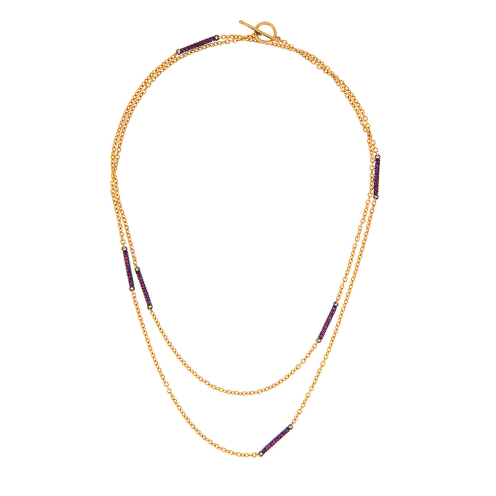 18K GOLD RUBY & PAVE DIAMOND BARS LILAH WRAP NECKLACE