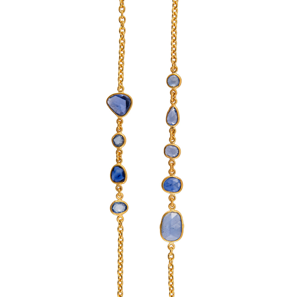 18K GOLD BLUE SAPPHIRE MICA NECKLACE