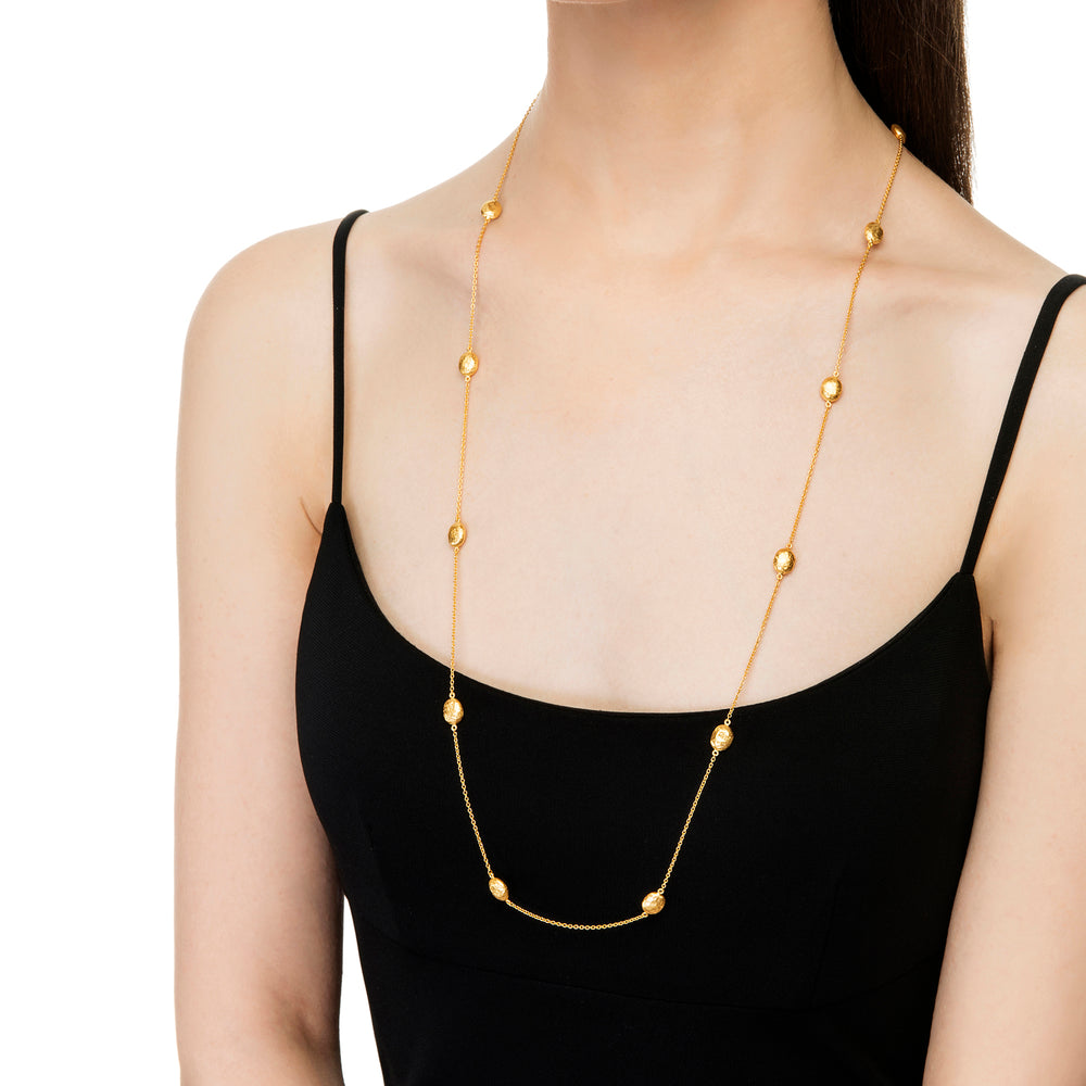 24K GOLD BEAD MINI ROXANNE WRAP NECKLACE