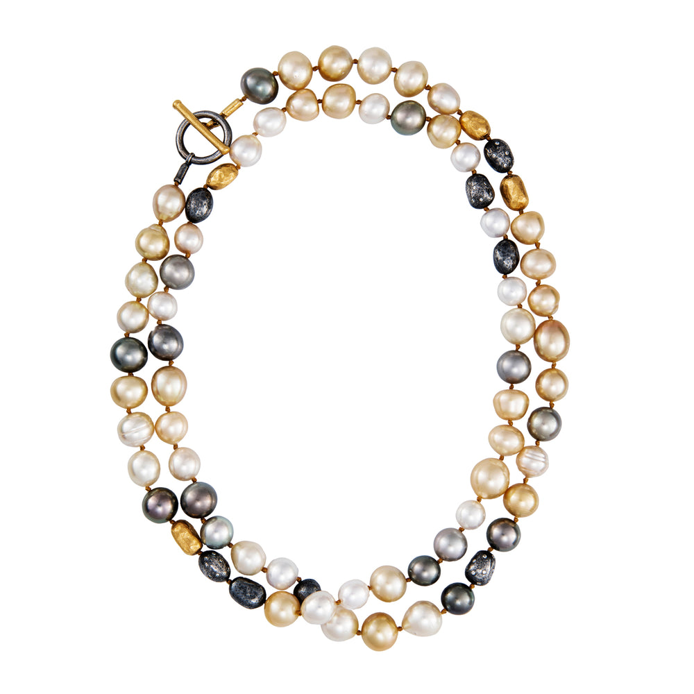 24K GOLD PEARL AND DIAMOND TWO STRAND WRAP NECKLACE