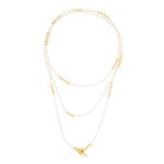 24K GOLD PEARL TRIPLE WRAP NECKLACE