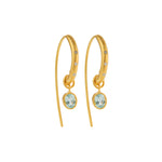 24K GOLD BLUE TOPAZ & DIAMOND REYNA HOOP EARRINGS