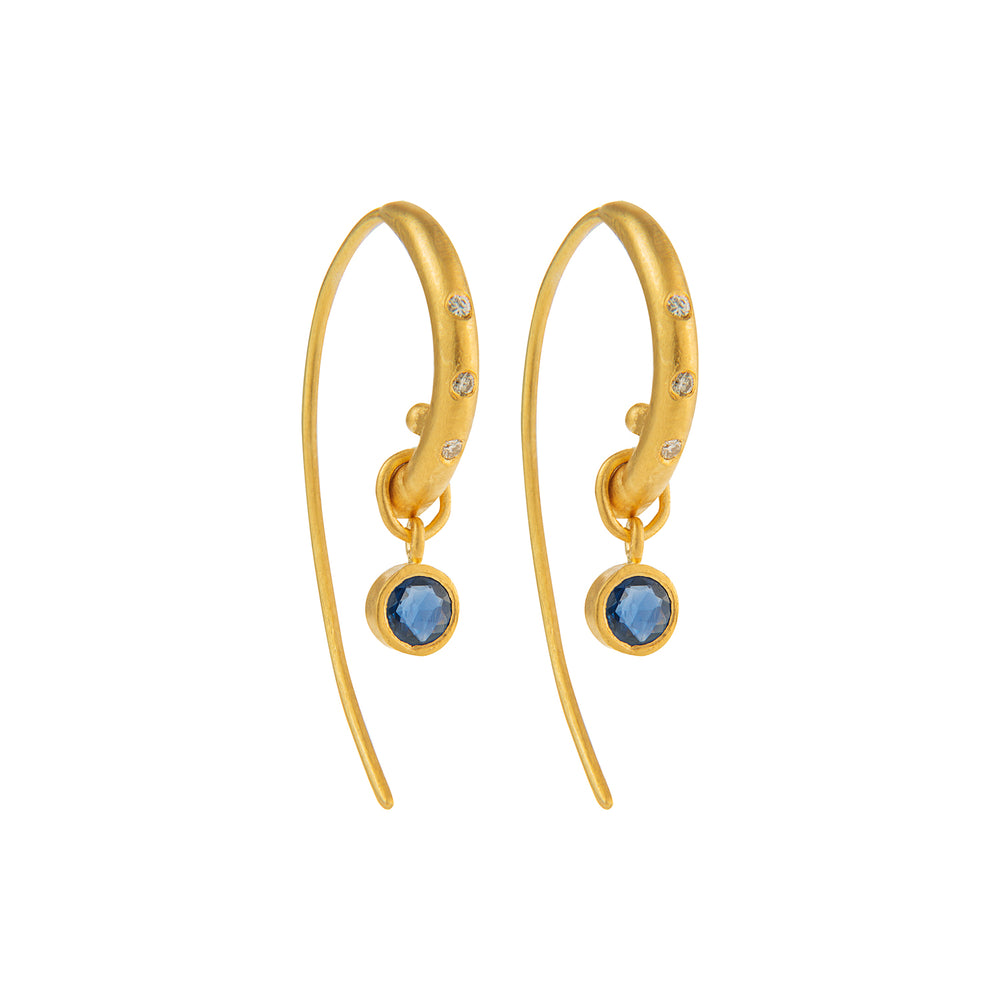 24K GOLD BLUE SAPPHIRE AND DIAMOND REYNA HOOP EARRINGS