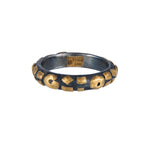 24K GOLD & OXIDIZED GILVER LEOPARD STACK RING