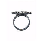OXIDIZED GILVER DIAMOND MOSAIC SARA MARQUIS RING