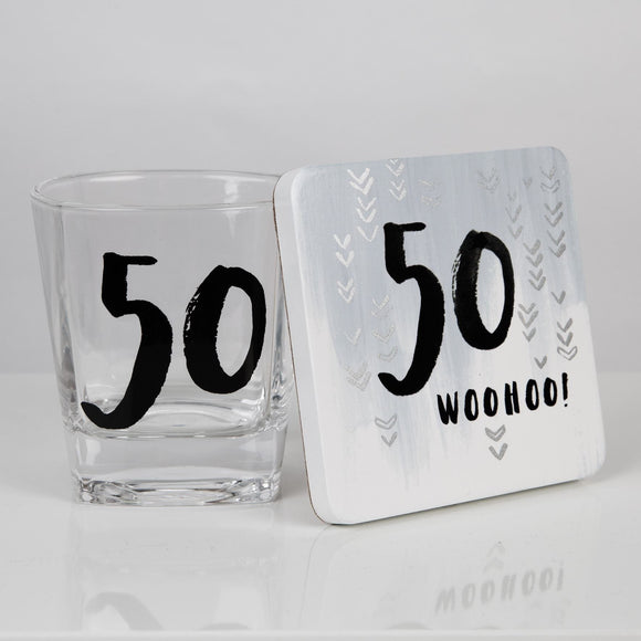 50th Birthday Whisky Glass & Coaster Gift Set - Caths Direct