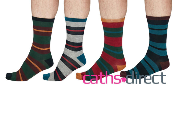 Mens Soft Bamboo Jacob Rugby Stripe Socks Size 7-11 by Thought - Caths Direct