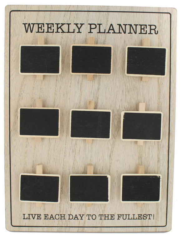 Wall Mountable Chalkboard Peg Hanger Weekly Planner Organiser - Caths Direct