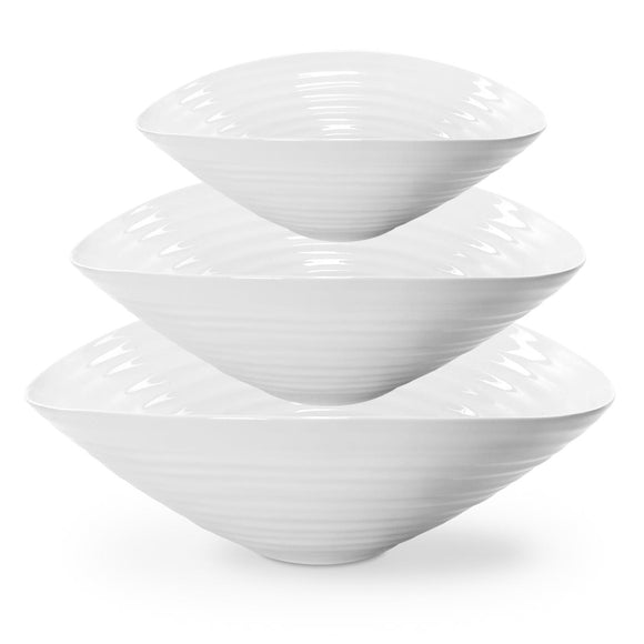 Sophie Conran for Portmeirion White Salad Bowls Set of 3 - Caths Direct