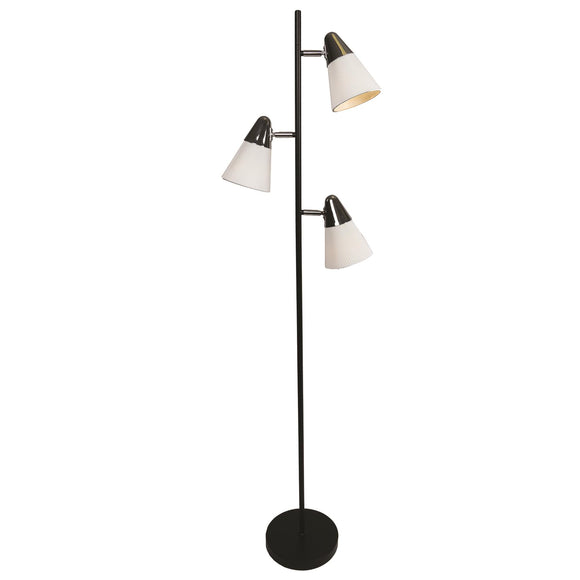 Black & Silver Floor Lamp with Triple White Lights - Caths Direct