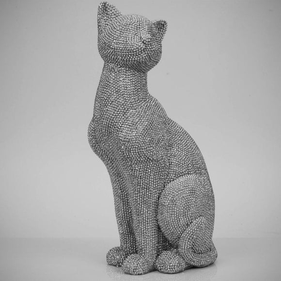 Hestia Home Diamante Style Cat Figurine 26cm tall