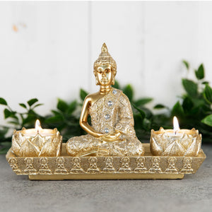 Gold Thai Buddha Tea Light Candle Holder - Caths Direct