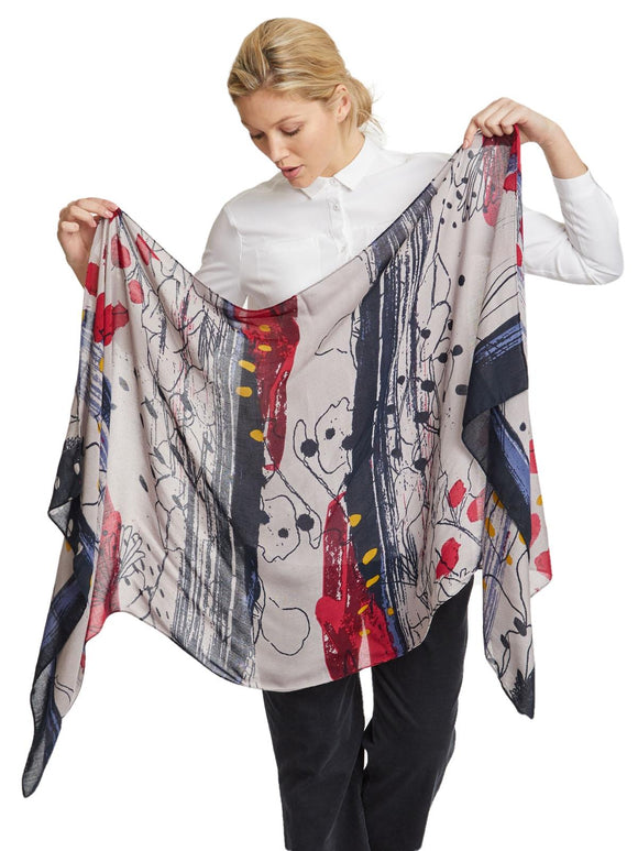 Thought Bamboo Scarf Frost Grey & Multi Colour Boxed - Caths Direct