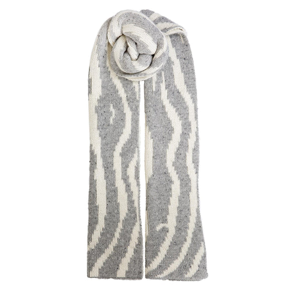 Dents Grey & Winter White Striped Knitted Scarf - Caths Direct